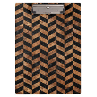 CHEVRON1 BLACK MARBLE & BROWN STONE CLIPBOARD