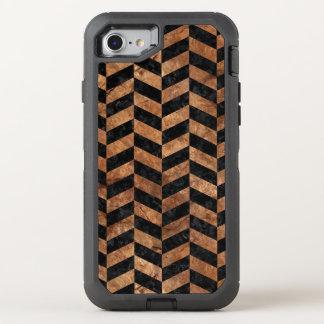 CHEVRON1 BLACK MARBLE & BROWN STONE OtterBox DEFENDER iPhone 7 CASE