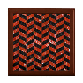 CHEVRON1 BLACK MARBLE & RED MARBLE GIFT BOX