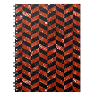 CHEVRON1 BLACK MARBLE & RED MARBLE NOTEBOOK