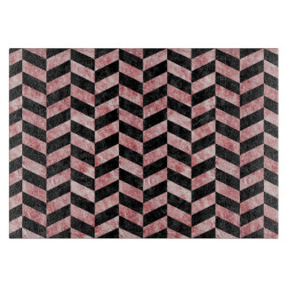 CHEVRON1 BLACK MARBLE & RED & WHITE MARBLE CUTTING BOARD