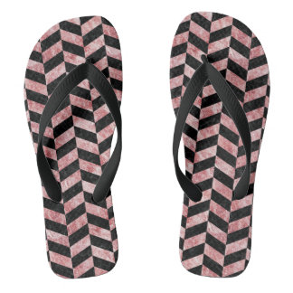 CHEVRON1 BLACK MARBLE & RED & WHITE MARBLE FLIP FLOPS