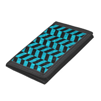 CHEVRON1 BLACK MARBLE & TURQUOISE MARBLE TRIFOLD WALLET