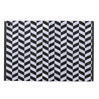 CHEVRON1 BLACK MARBLE & WHITE MARBLE iPad AIR COVER