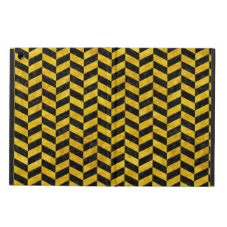 CHEVRON1 BLACK MARBLE & YELLOW MARBLE CASE FOR iPad AIR
