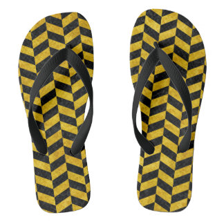 CHEVRON1 BLACK MARBLE & YELLOW MARBLE FLIP FLOPS