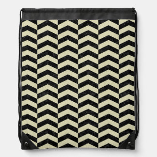 CHEVRON2 BLACK MARBLE & BEIGE LINEN DRAWSTRING BAG