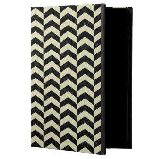 CHEVRON2 BLACK MARBLE & BEIGE LINEN POWIS iPad AIR 2 CASE