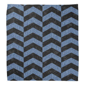 CHEVRON2 BLACK MARBLE & BLUE DENIM BANDANA
