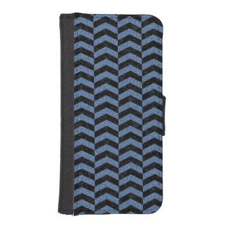 CHEVRON2 BLACK MARBLE & BLUE DENIM iPhone SE/5/5s WALLET CASE