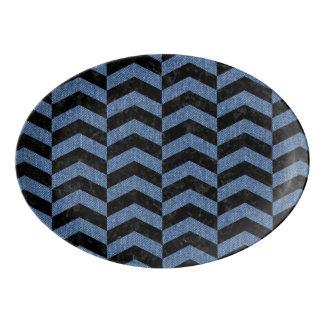 CHEVRON2 BLACK MARBLE & BLUE DENIM PORCELAIN SERVING PLATTER