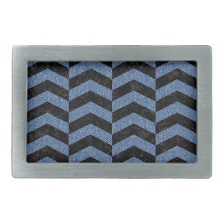 CHEVRON2 BLACK MARBLE & BLUE DENIM RECTANGULAR BELT BUCKLE