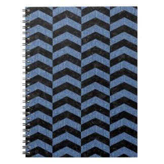 CHEVRON2 BLACK MARBLE & BLUE DENIM SPIRAL NOTEBOOK