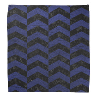 CHEVRON2 BLACK MARBLE & BLUE LEATHER BANDANA