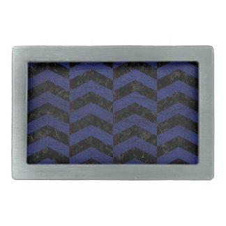 CHEVRON2 BLACK MARBLE & BLUE LEATHER BELT BUCKLE