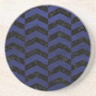 CHEVRON2 BLACK MARBLE & BLUE LEATHER COASTER