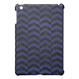 CHEVRON2 BLACK MARBLE & BLUE LEATHER COVER FOR THE iPad MINI