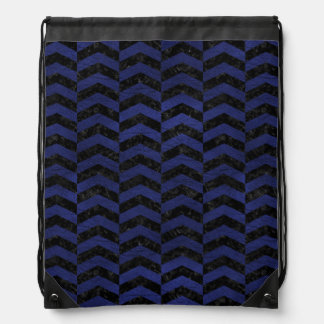 CHEVRON2 BLACK MARBLE & BLUE LEATHER DRAWSTRING BAG