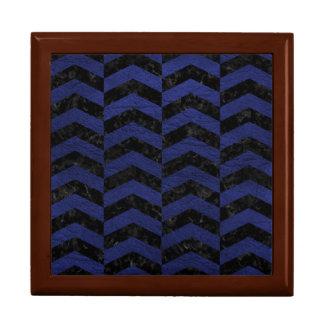 CHEVRON2 BLACK MARBLE & BLUE LEATHER GIFT BOX