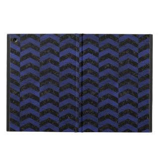 CHEVRON2 BLACK MARBLE & BLUE LEATHER iPad AIR COVER
