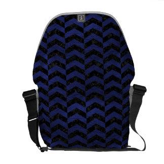 CHEVRON2 BLACK MARBLE & BLUE LEATHER MESSENGER BAGS