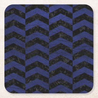 CHEVRON2 BLACK MARBLE & BLUE LEATHER SQUARE PAPER COASTER