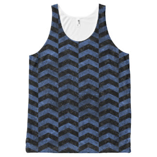 CHEVRON2 BLACK MARBLE & BLUE STONE All-Over-Print TANK TOP