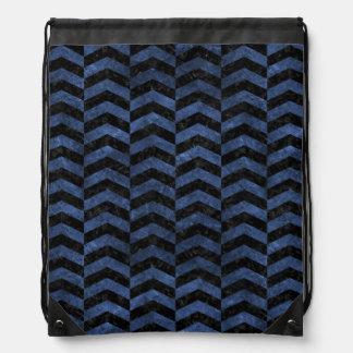 CHEVRON2 BLACK MARBLE & BLUE STONE DRAWSTRING BAG