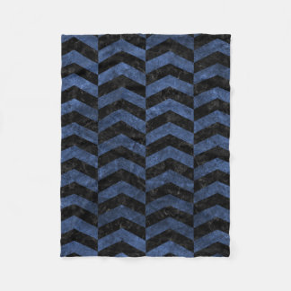 CHEVRON2 BLACK MARBLE & BLUE STONE FLEECE BLANKET