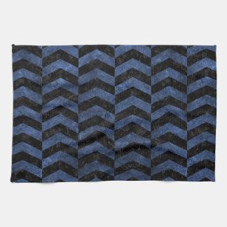 CHEVRON2 BLACK MARBLE & BLUE STONE KITCHEN TOWEL
