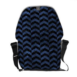 CHEVRON2 BLACK MARBLE & BLUE STONE MESSENGER BAG