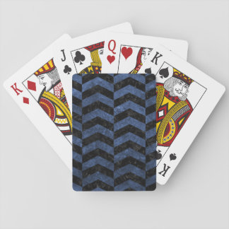 CHEVRON2 BLACK MARBLE & BLUE STONE PLAYING CARDS