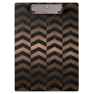 CHEVRON2 BLACK MARBLE & BRONZE METAL CLIPBOARD