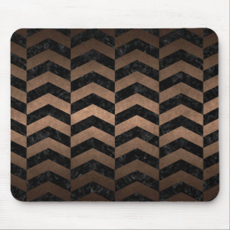 CHEVRON2 BLACK MARBLE & BRONZE METAL MOUSE PAD