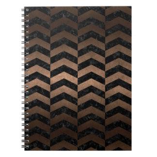 CHEVRON2 BLACK MARBLE & BRONZE METAL SPIRAL NOTEBOOK