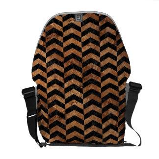 CHEVRON2 BLACK MARBLE & BROWN STONE COURIER BAG