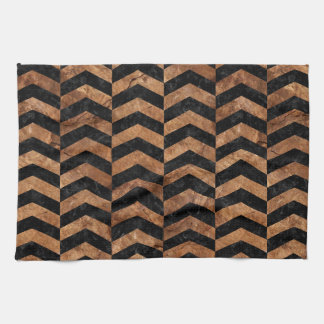 CHEVRON2 BLACK MARBLE & BROWN STONE KITCHEN TOWEL