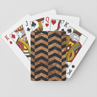 CHEVRON2 BLACK MARBLE & BROWN STONE PLAYING CARDS