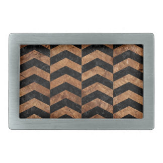 CHEVRON2 BLACK MARBLE & BROWN STONE RECTANGULAR BELT BUCKLES