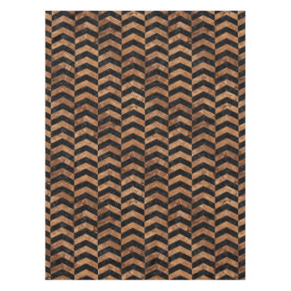 CHEVRON2 BLACK MARBLE & BROWN STONE TABLECLOTH