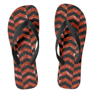 CHEVRON2 BLACK MARBLE & RED MARBLE FLIP FLOPS