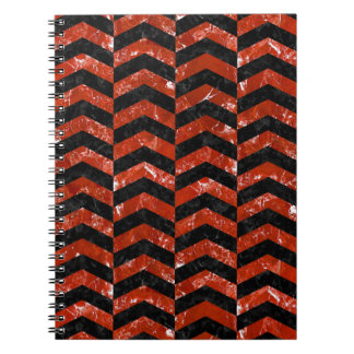 CHEVRON2 BLACK MARBLE & RED MARBLE NOTEBOOK