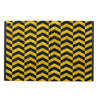 CHEVRON2 BLACK MARBLE & YELLOW MARBLE COVER FOR iPad AIR