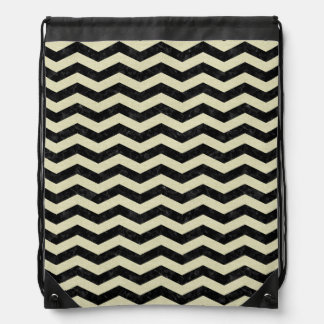 CHEVRON3 BLACK MARBLE & BEIGE LINEN DRAWSTRING BAG