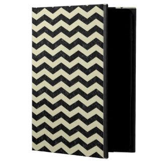 CHEVRON3 BLACK MARBLE & BEIGE LINEN POWIS iPad AIR 2 CASE