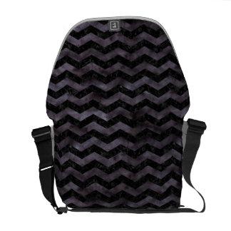 CHEVRON3 BLACK MARBLE & BLACK WATERCOLOR COURIER BAG
