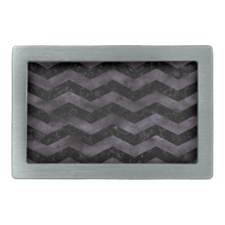 CHEVRON3 BLACK MARBLE & BLACK WATERCOLOR RECTANGULAR BELT BUCKLE
