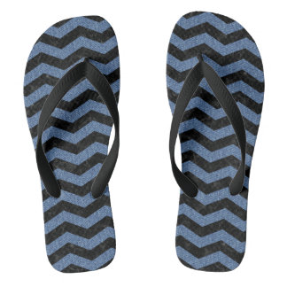 CHEVRON3 BLACK MARBLE & BLUE DENIM FLIP FLOPS