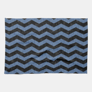CHEVRON3 BLACK MARBLE & BLUE DENIM KITCHEN TOWEL