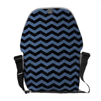 CHEVRON3 BLACK MARBLE & BLUE DENIM MESSENGER BAG